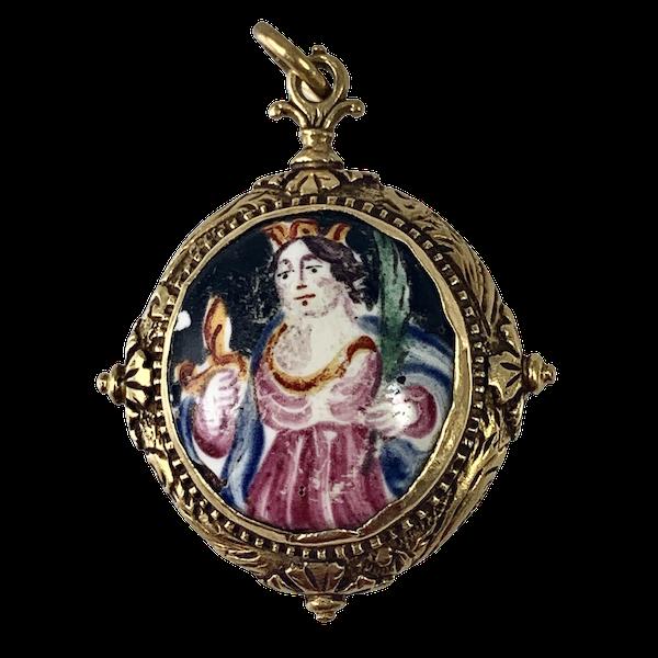 Italian 1660 devotional gold pendant - image 1