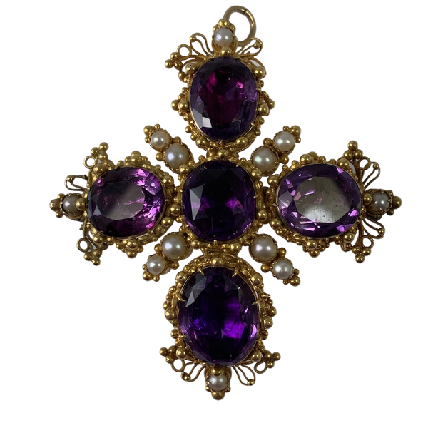 1800 gold cross shaped amethyst brooch - image 1