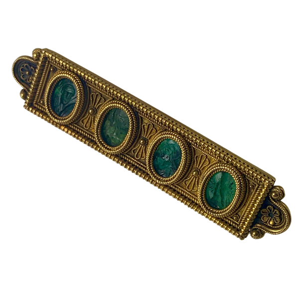 1870 archeological revival gold brooch with ancient intaglios - image 1