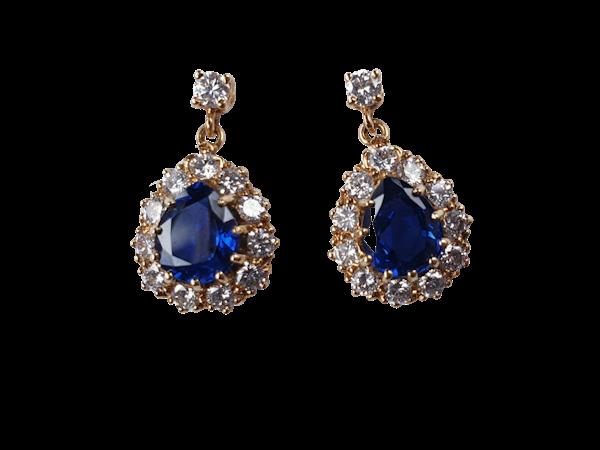 Sapphire and Diamond Drop Earrings  DBGEMS - image 1