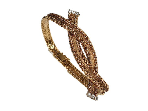 Cool 1960's French woven 18ct gold bracelet  DBGEMS - image 1