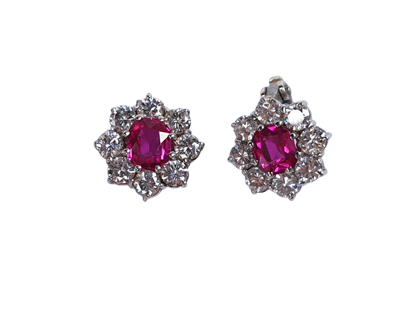 Burmese Ruby and Diamond Earrings  DBGEMS - image 1