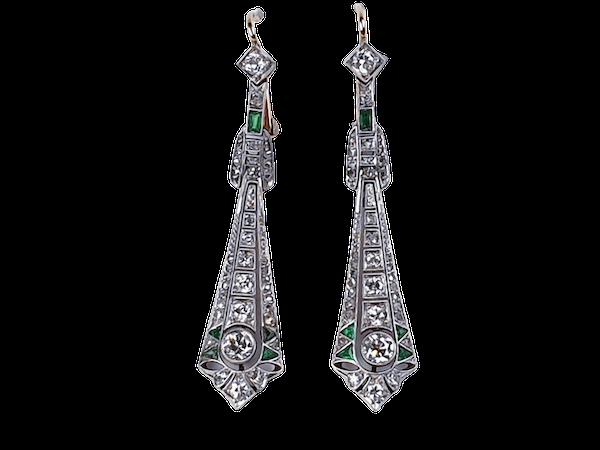Edwardian Emerald and Diamond Drop Earrings  DBGEMS - image 1