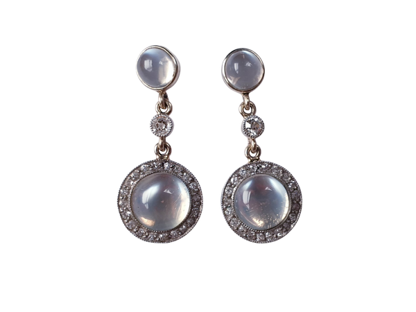Antique moonstone and diamond drop earrings  DBGEMS - image 1