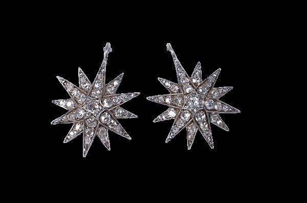 Antique diamond star earrings  DBGEMS - image 1