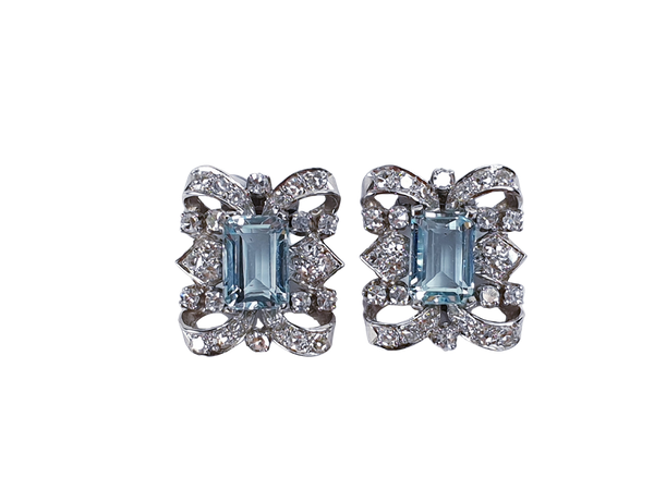 1940's Aquamarine and Diamond Earrings  DBGEMS - image 1