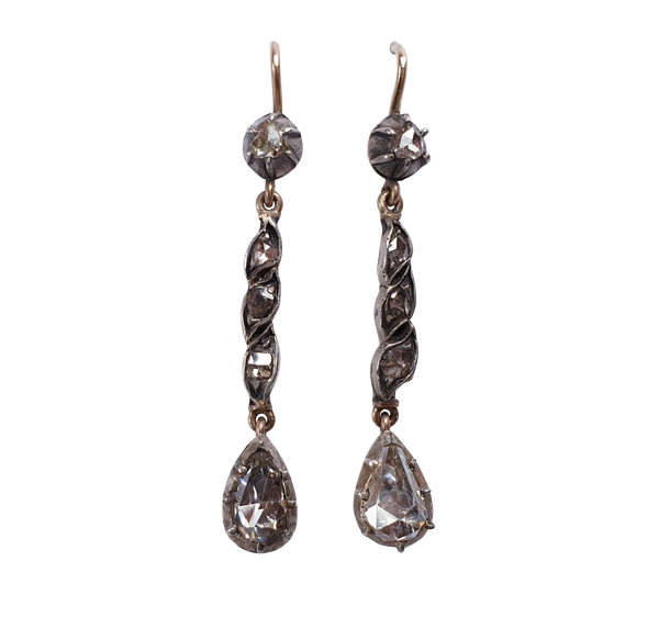 Antique Rose diamond drop earrings  DBGEMS - image 1