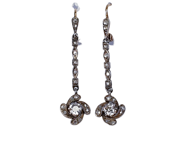 Antique diamond drop earrings  DBGEMS - image 1