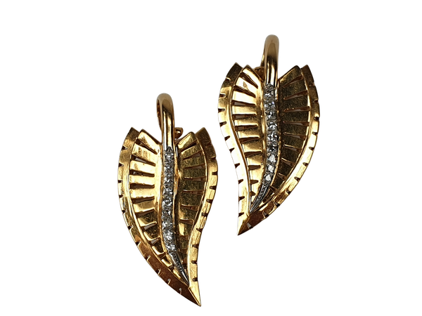 Pair of 1940's diamond leaf clips  DBGEMS - image 1