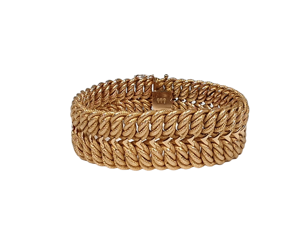 18ct gold inter woven wide gold bracelet  DBGMES - image 3