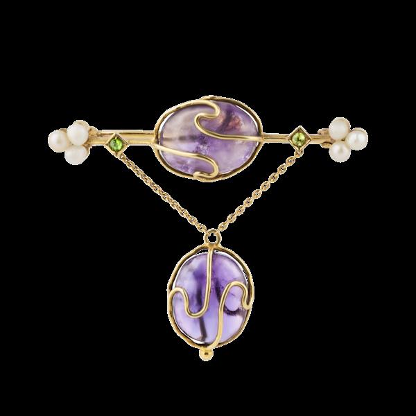 Art Nouveau amethyst, pearl and demantoid garnet brooch/pin - image 1