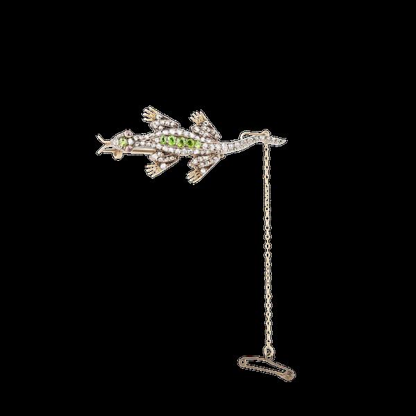Demantoid garnet and diamonds lizard brooch - image 1