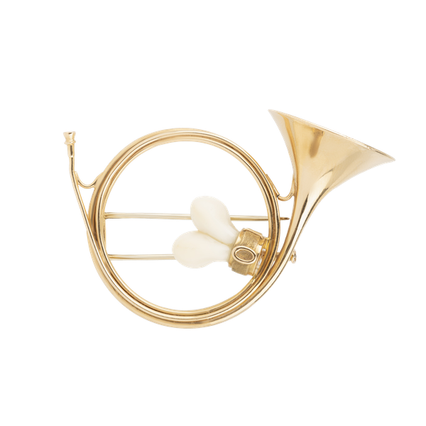 Hunting French horn gold and deer antlers brooch - image 1