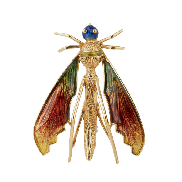 "Edwardian gold and enamel large brooch of a ""moth"" - image 1"