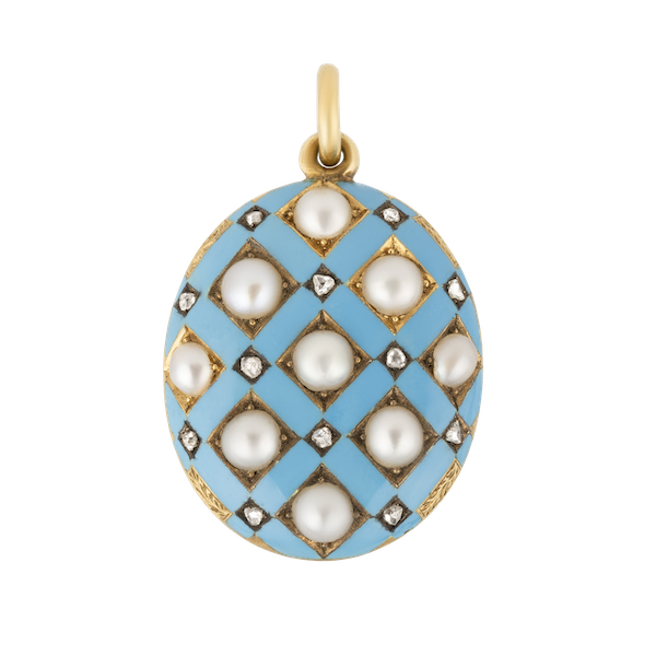 Victorian blue enamel, pearls and  rose cut diamond fancy locket/pendant - image 1