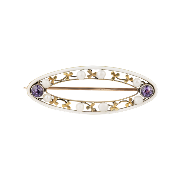 Art Nouveau multi gem and enamel lozenge shaped brooch - image 1