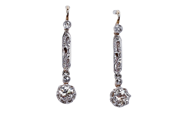 Edwardian Diamond Drop Earrings 3152 DBGEMS - image 1