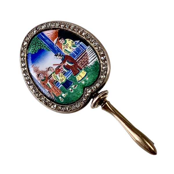 French 1880 enamelled gold brooch - image 1