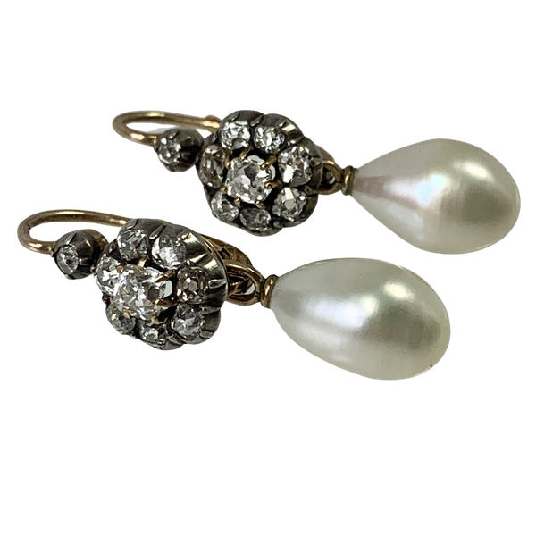 Pair of diamond set earrings with pearls - image 1