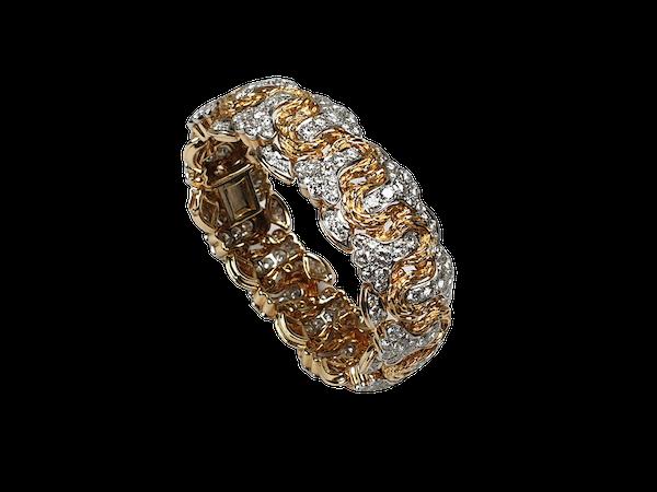 1960's 15ct diamond, platinum and 18ct gold bracelet  DBGEMS - image 1