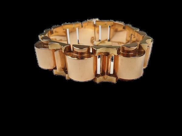 1930's French Bi Colour Gold Tank Bracelet  DBGEMS - image 1