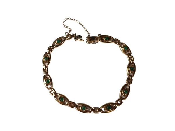 Cabochon Emerald 18ct Gold Bracelet  DBGEMS - image 1