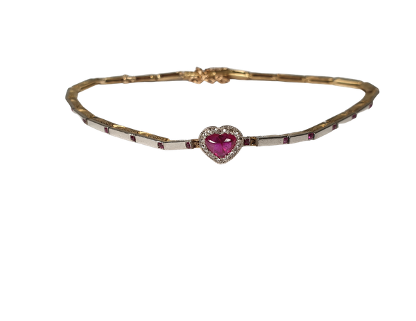Antique ruby and diamond heart bracelet  DBGEMS - image 1