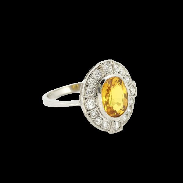 Yellow Sapphire and Diamond Ring in Platinum - image 1