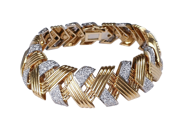 French 1960's gold and diamond bracelet  DBGEMS - image 1