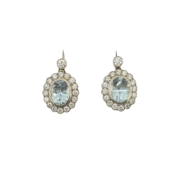 Aquamarine and diamond drop cluster earrings A3.80cts - image 1