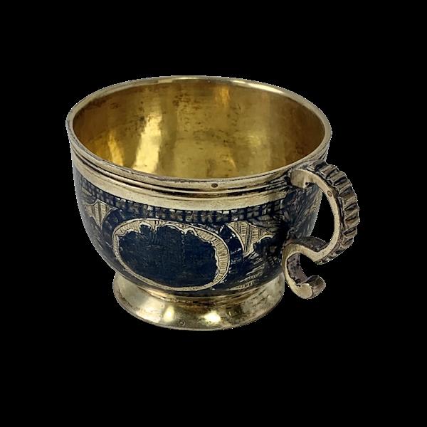 Russian nielloed silver vodka cup - image 1