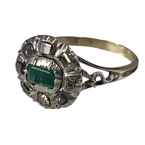 Eighteenth century ring with emerald and diamonds - image 1