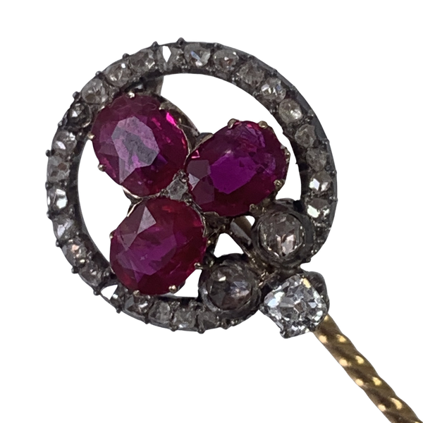 Antique stick pin with rubies - image 1