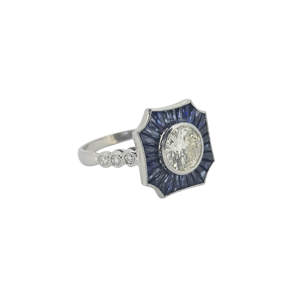 Sapphire and Diamond ring, centre 1.01ct - image 1