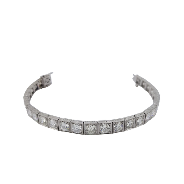 Art Deco Square collet-set Diamond Bracelet Est 12cts - image 1