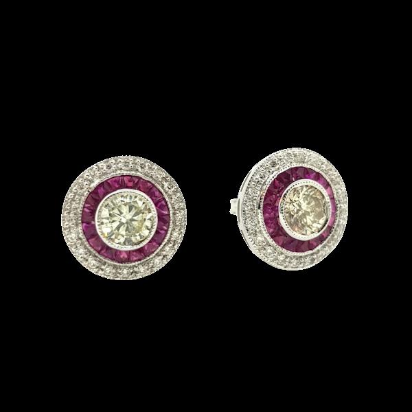 Ruby and Diamond Target Earrings - image 1