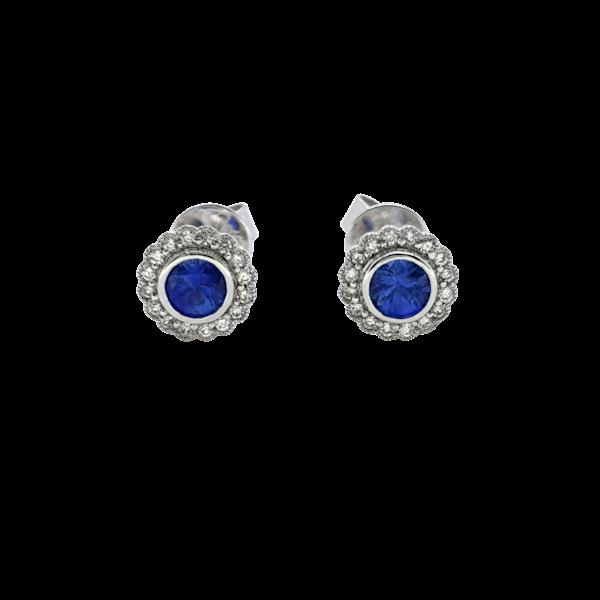 Sapphire and Diamond stud Earrings - image 1