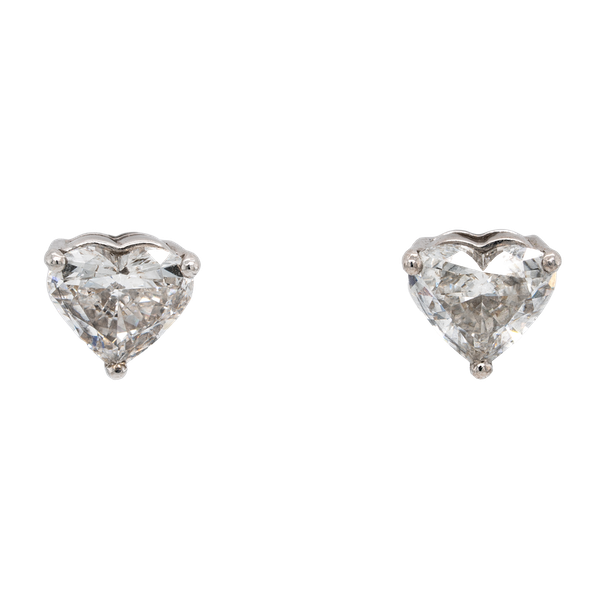 A Pair of Heart Shaped Diamond Studs Offered by The Gilded Lily - image 1