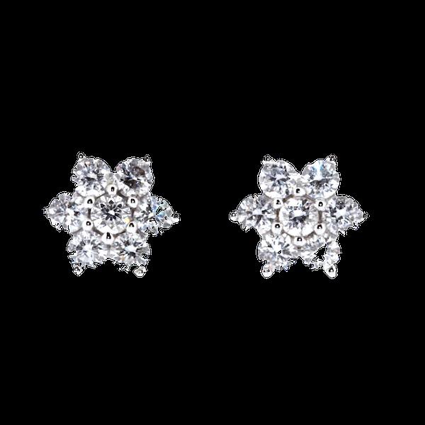 Flower Diamond Stud Earrings. S.Greenstein - image 1