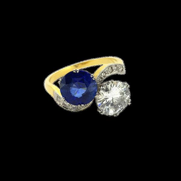 "Sapphire and Diamond ""Toi et Moi"" ring - image 1"