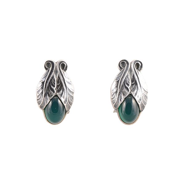 Date: 2008, Georg Jensen, Silver & Green Agate clip Earrings, SHAPIRO & Co since1979 - image 1