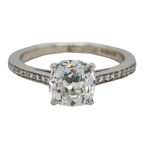 A Cushion Cut Solitaire Diamond Ring Offered by The Gilded Lly - image 1