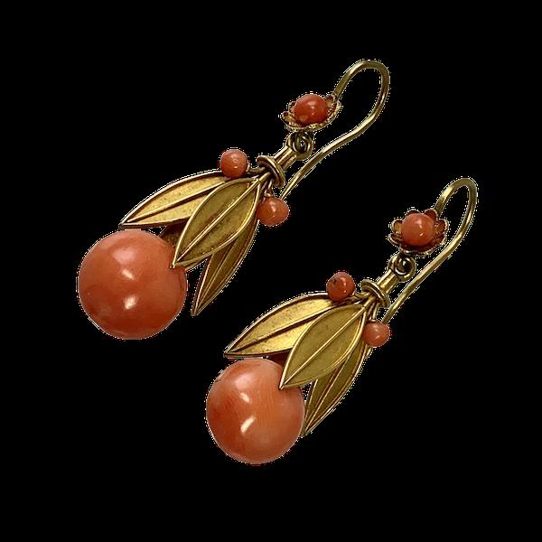 1820 coral earrings - image 1