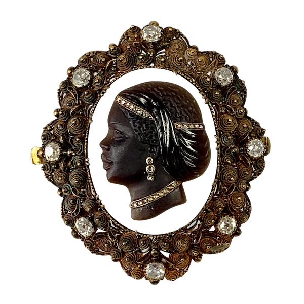 1840 Cameo brooch with diamonds - image 1