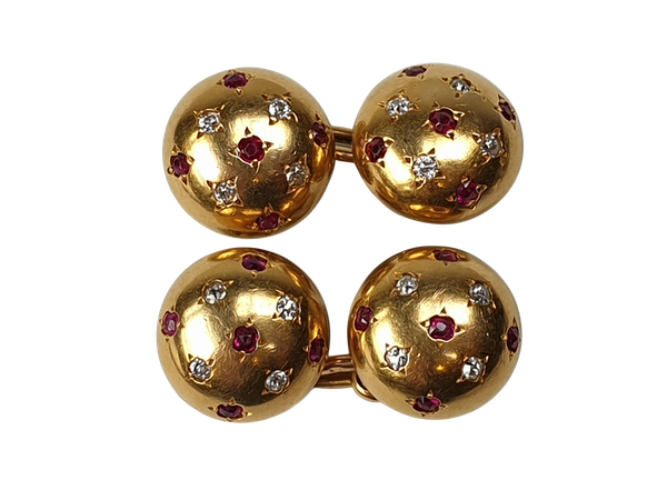 Pair of ruby and diamond gold cufflinks  DBGEMS - image 1