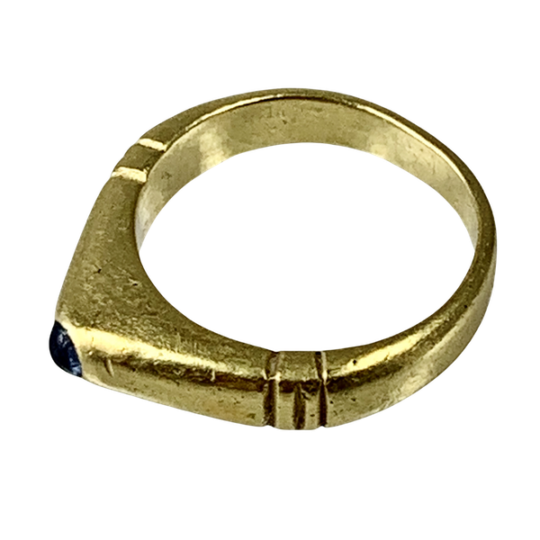 Gold and sapphire stirrup ring - image 1