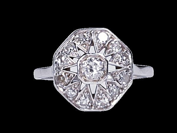 Art Deco Hexagonal Diamond Engagement Ring  DBGEMS - image 7