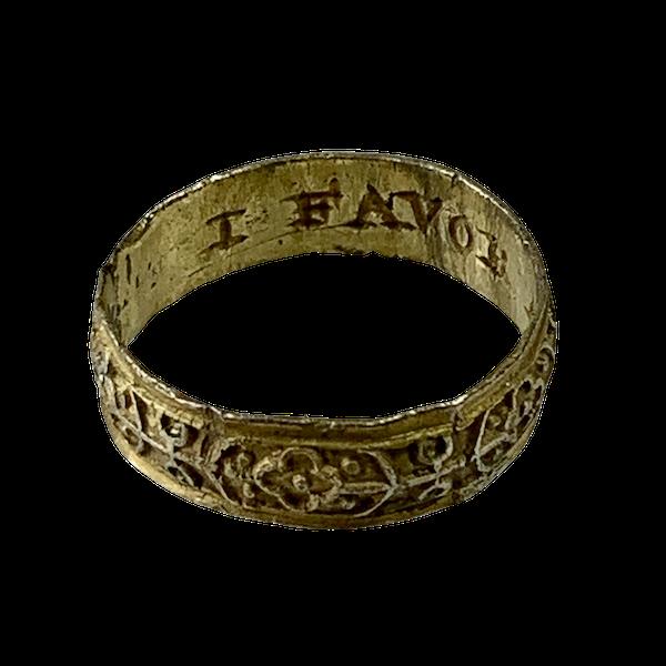 1600 silver gilt posy ring - image 1