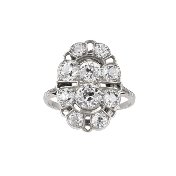 Oval tablet Art Deco diamond cluster ring - image 1