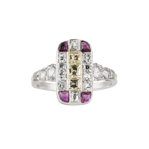 Art Deco diamond, ruby and fancy yellow diamonds tablet ring - image 1